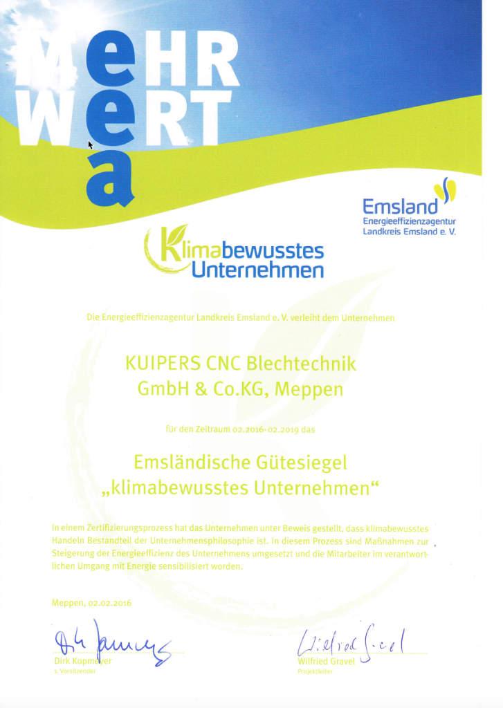 Zertifikat_KUIPERS_Klimabewusstes_Unternehmen_2016-2019